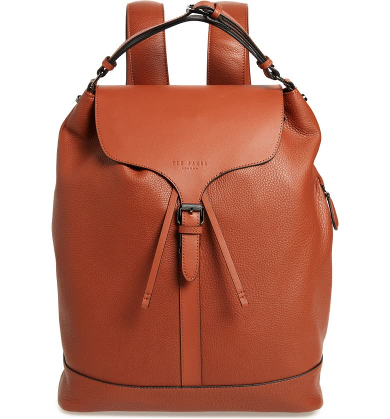 TED BAKER LONDON Rusted Leather Backpack, Main, color, 217