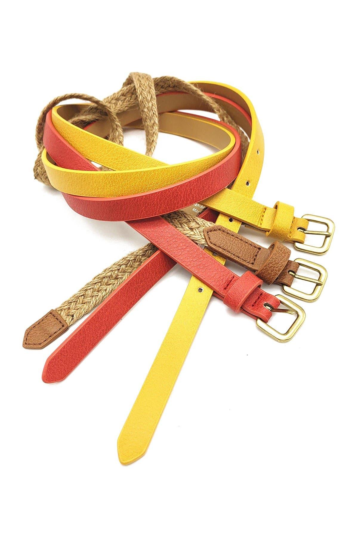 Image of Linea Pelle Skinny Belts - Pack of 3