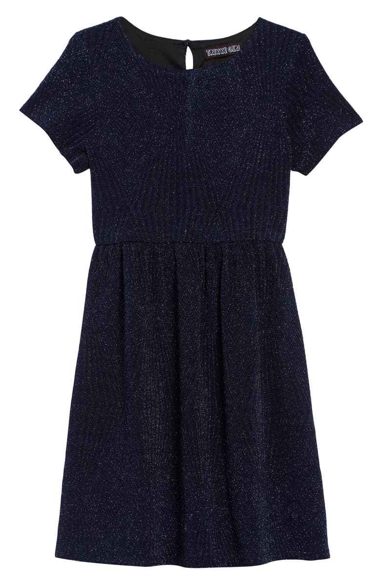 TRIXXI Glitter Knit Cap Sleeve Dress, Main, color, 420