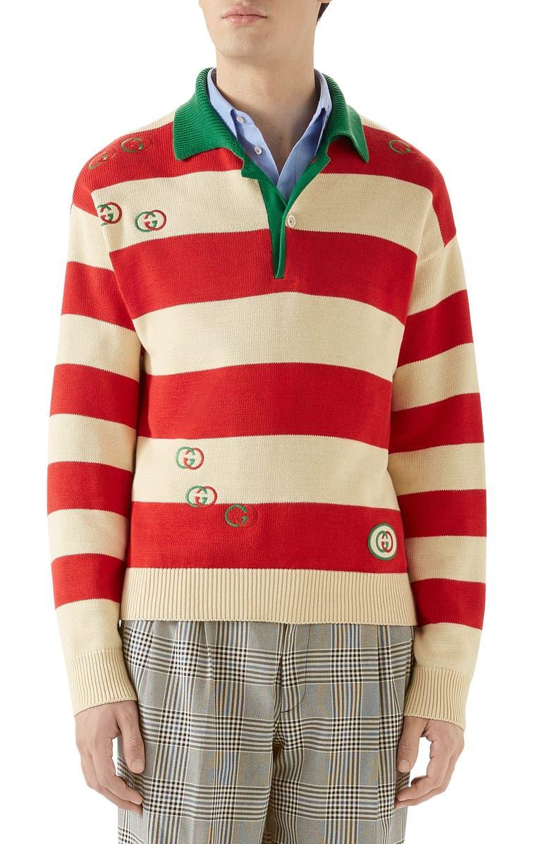 GUCCI Interlocking-G Embroidered Cotton Polo Sweater, Main, color, MILK/ LIVE RED