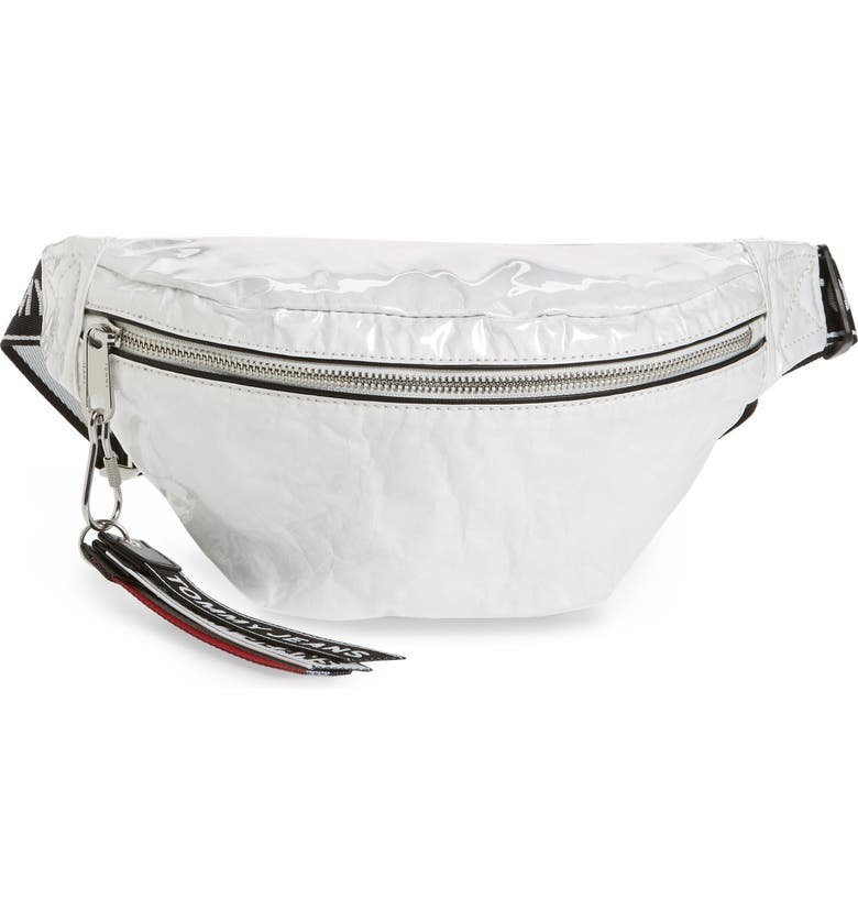 TOMMY JEANS Logo Tape Belt Bag, Main, color, BRIGHT WHITE