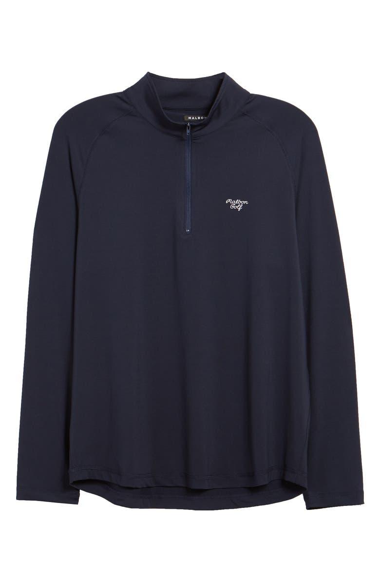 MALBON GOLF Malbon Flex Quarter Zip Performance Golf Pullover, Main, color, NAVY