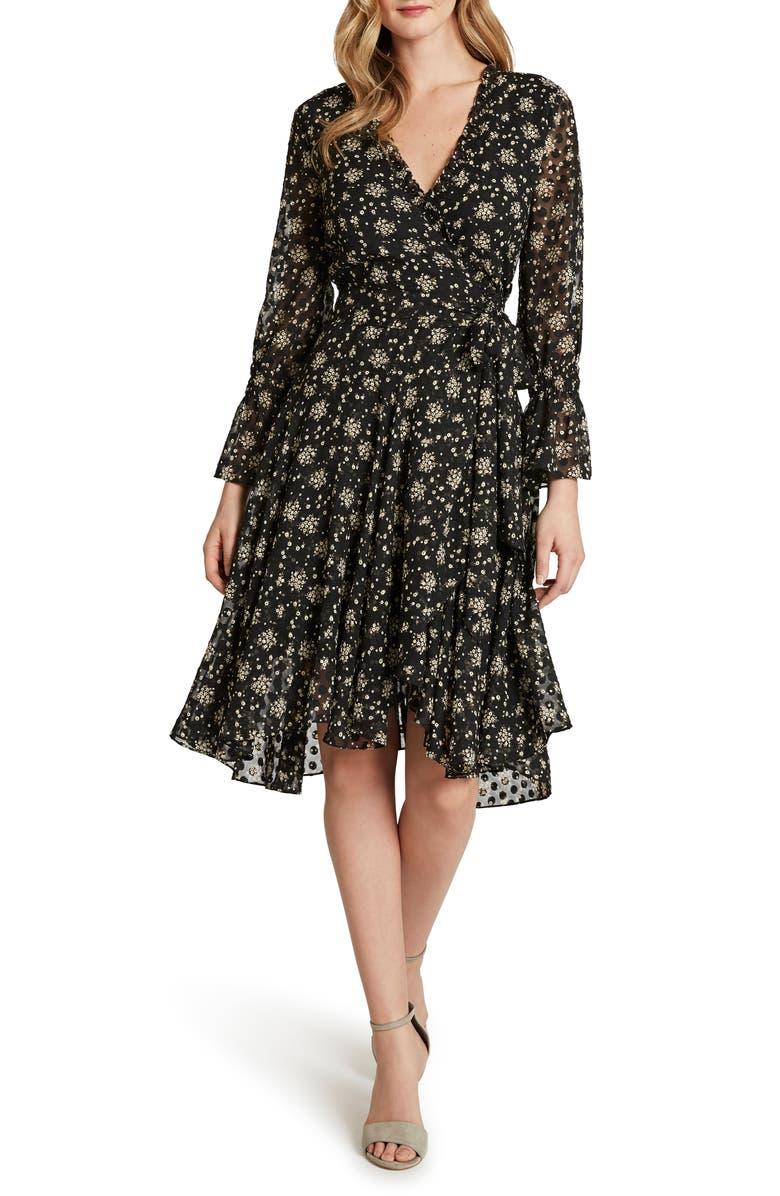 TAHARI Floral Dot Chiffon Long Sleeve Faux Wrap Dress, Main, color, BLACK IVORY DISTY FLORAL