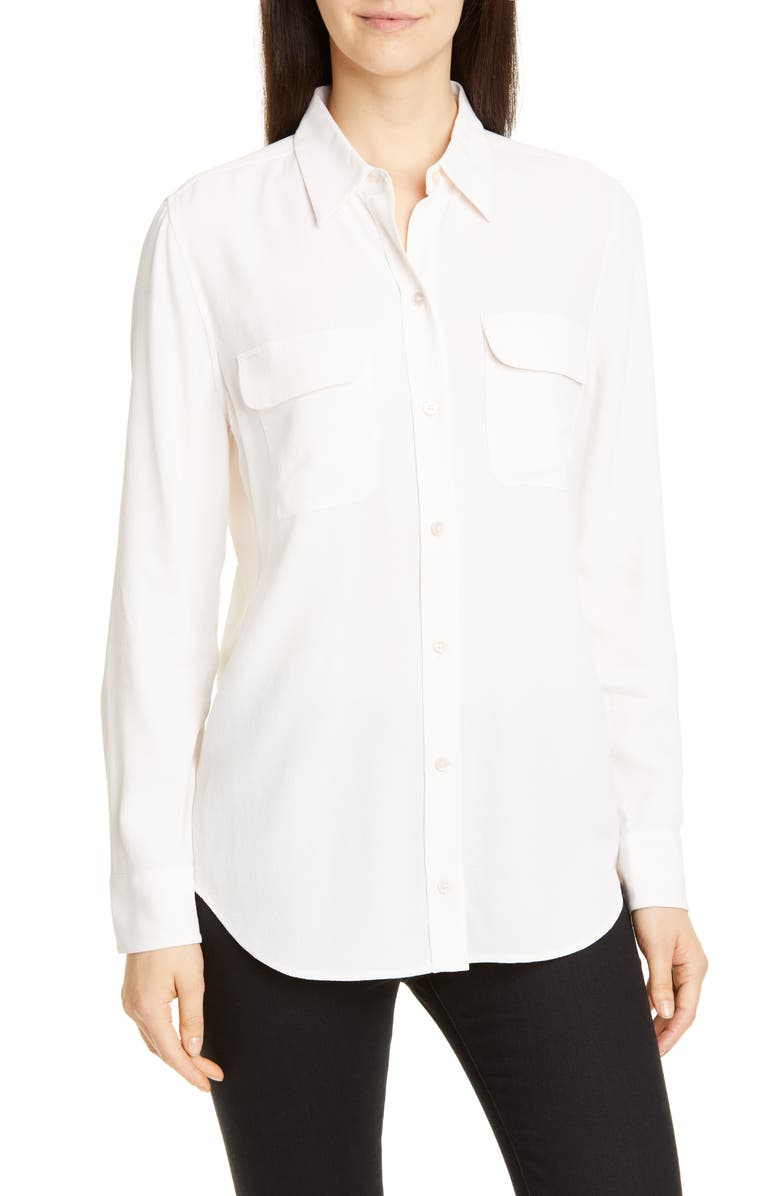 EQUIPMENT Slim Signature Button-Up Blouse, Main, color, BOUT DE LUNE