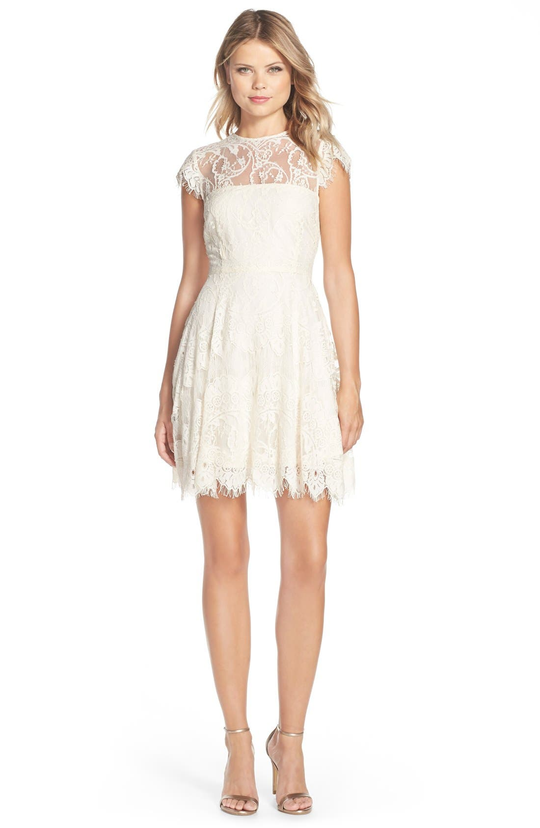 ,                             Rhianna Open Back Lace Fit & Flare Cocktail Dress,                             Main thumbnail 79, color,                             900