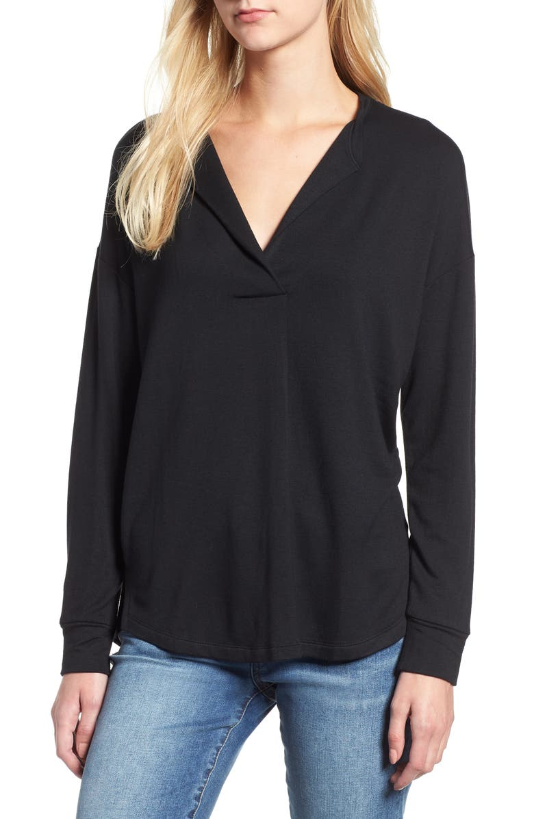 LOU & GREY Signaturesoft Split Neck Top, Main, color, 001