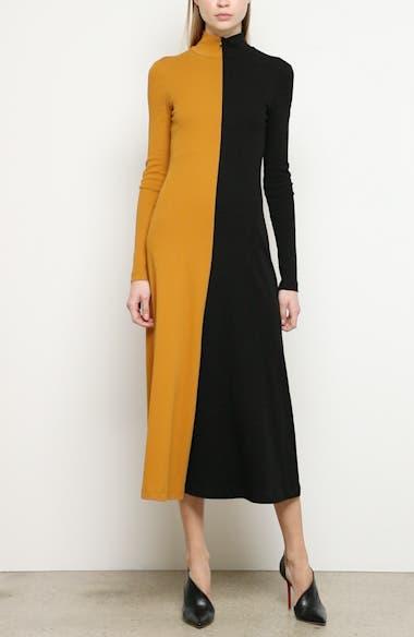Bicolor Long Sleeve Midi Dress, video thumbnail