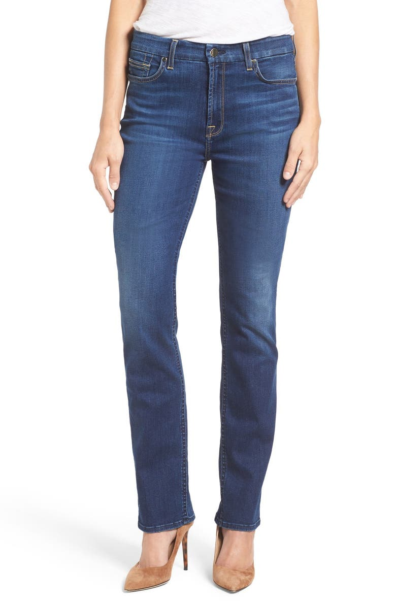 JEN7 BY 7 FOR ALL MANKIND Stretch Slim Straight Leg Jeans, Main, color, RICHE TOUCH CLASSIC MEDIUM