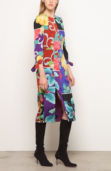 Patchwork Floral Stretch Silk Dress, video thumbnail
