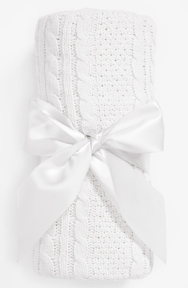 NORDSTROM BABY Cable Knit Blanket, Main, color, WHITE