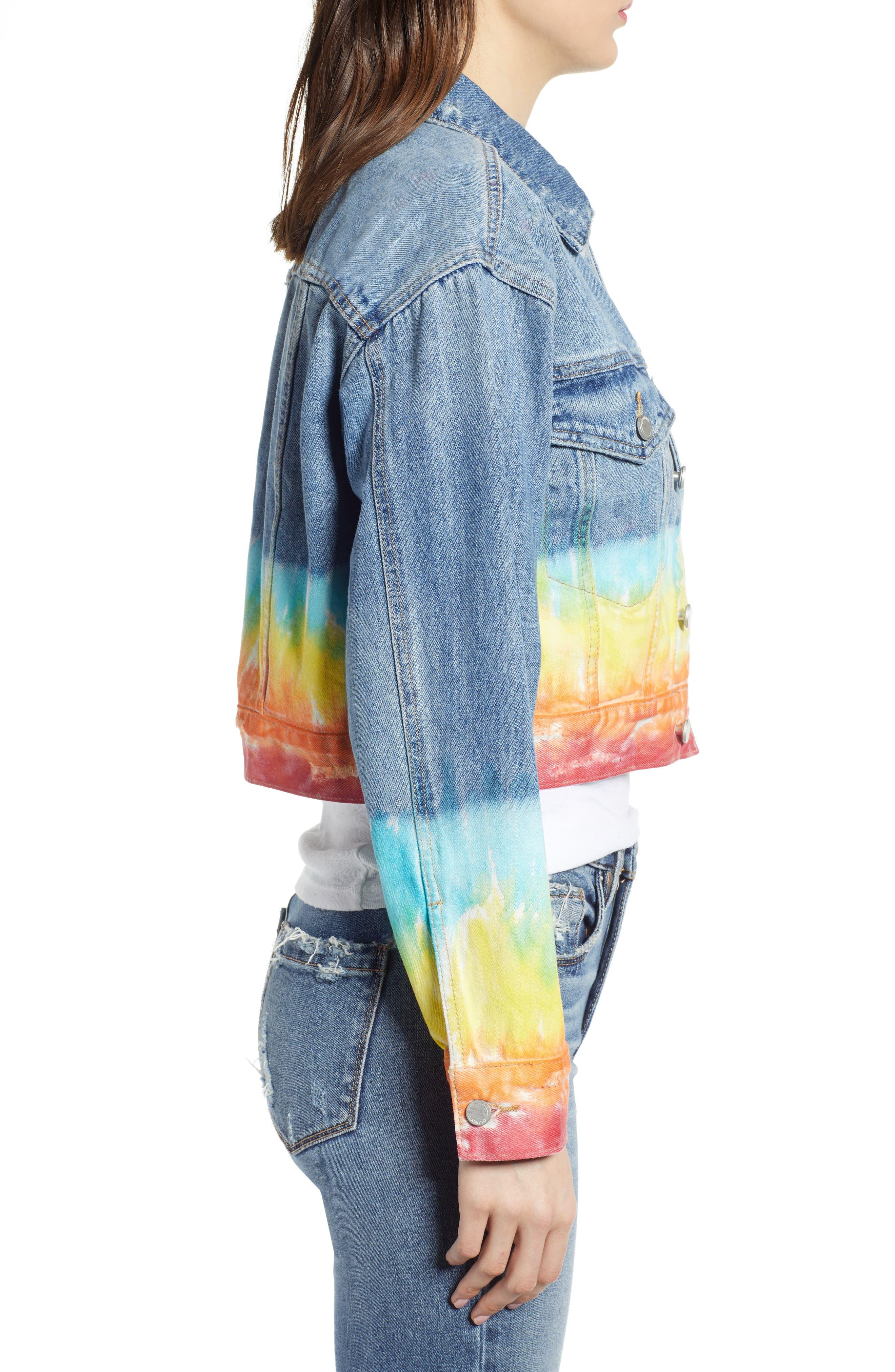 ,                             Tie Dye Hem Crop Denim Jacket,                             Alternate thumbnail 4, color,                             BLOW THE BAG