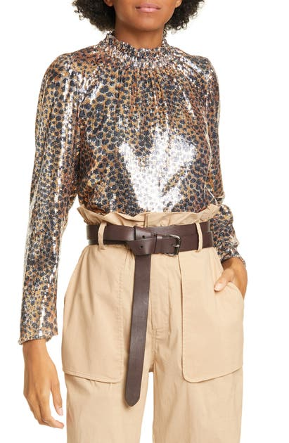 Sea Tops LEOPARD PRINT SEQUIN PUFF SLEEVE BLOUSE