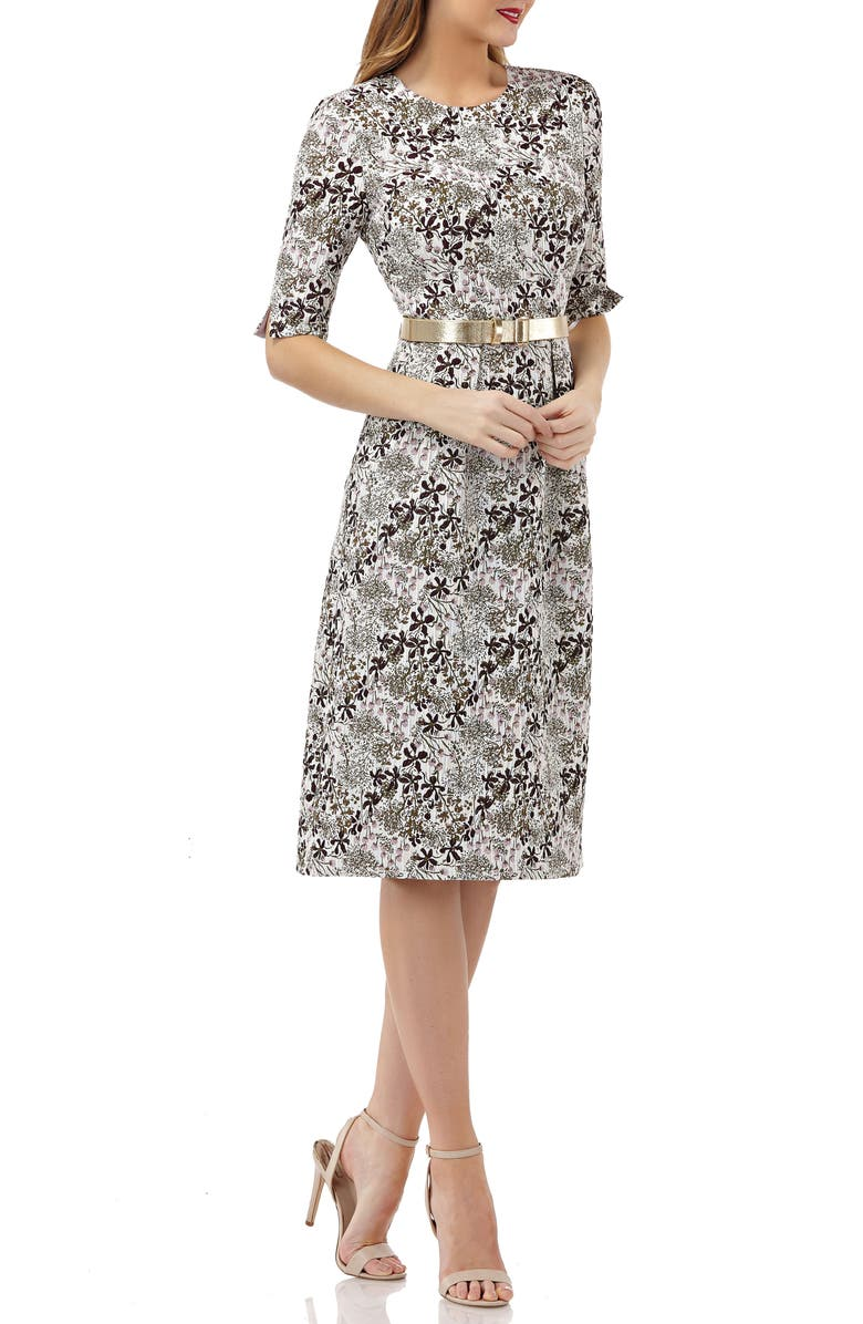 KAY UNGER Elbow-Sleeve Belted Sheath Dress, Main, color, 900