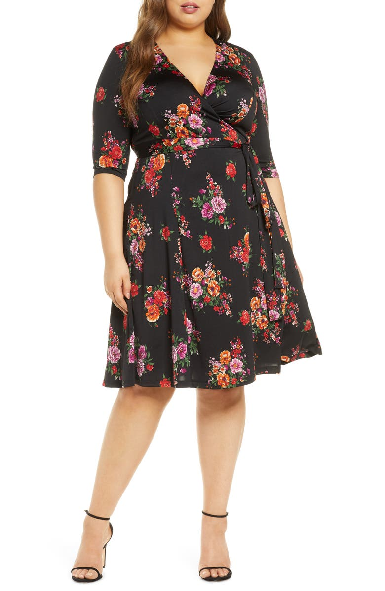 KIYONNA Essential Wrap Dress, Main, color, BLACK FLORAL PRINT