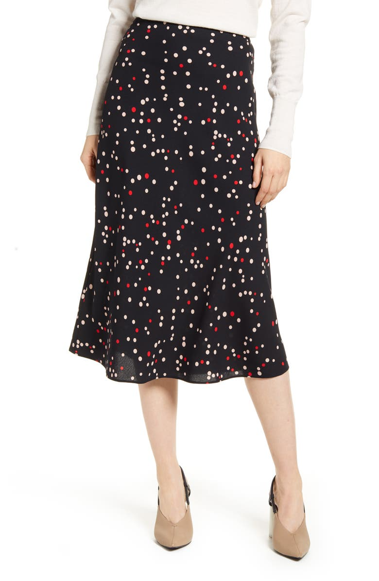 HALOGEN<SUP>®</SUP> Bias Cut A-Line Midi Skirt, Main, color, BLACK- RED MIXED DOT