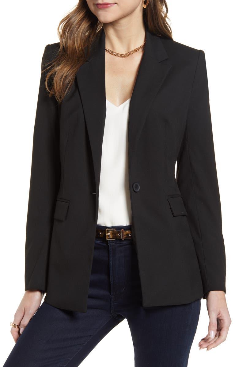 HALOGEN<SUP>®</SUP> One Button Blazer, Main, color, BLACK