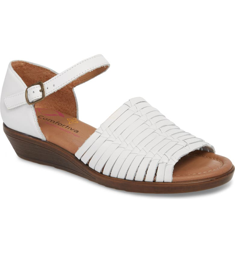 COMFORTIVA Fayann Sandal, Main, color, WHITE LEATHER