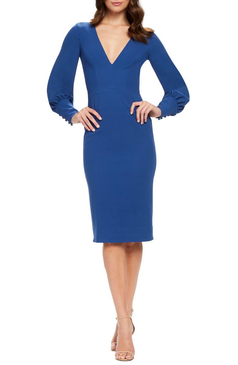 DRESS THE POPULATION Norah Plunge Body-Con Dress, Main, color, GRAPHITE BLUE