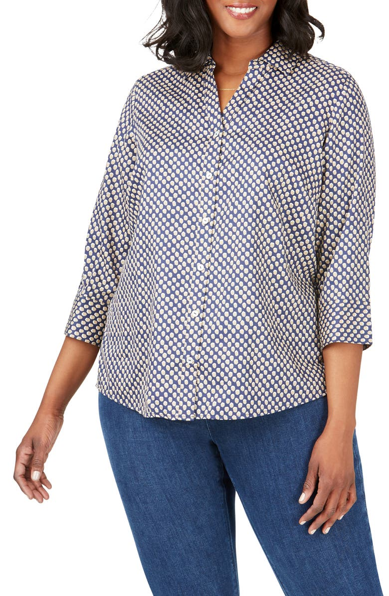 FOXCROFT Mary Shadow Dot Print Shirt, Main, color, NAVY