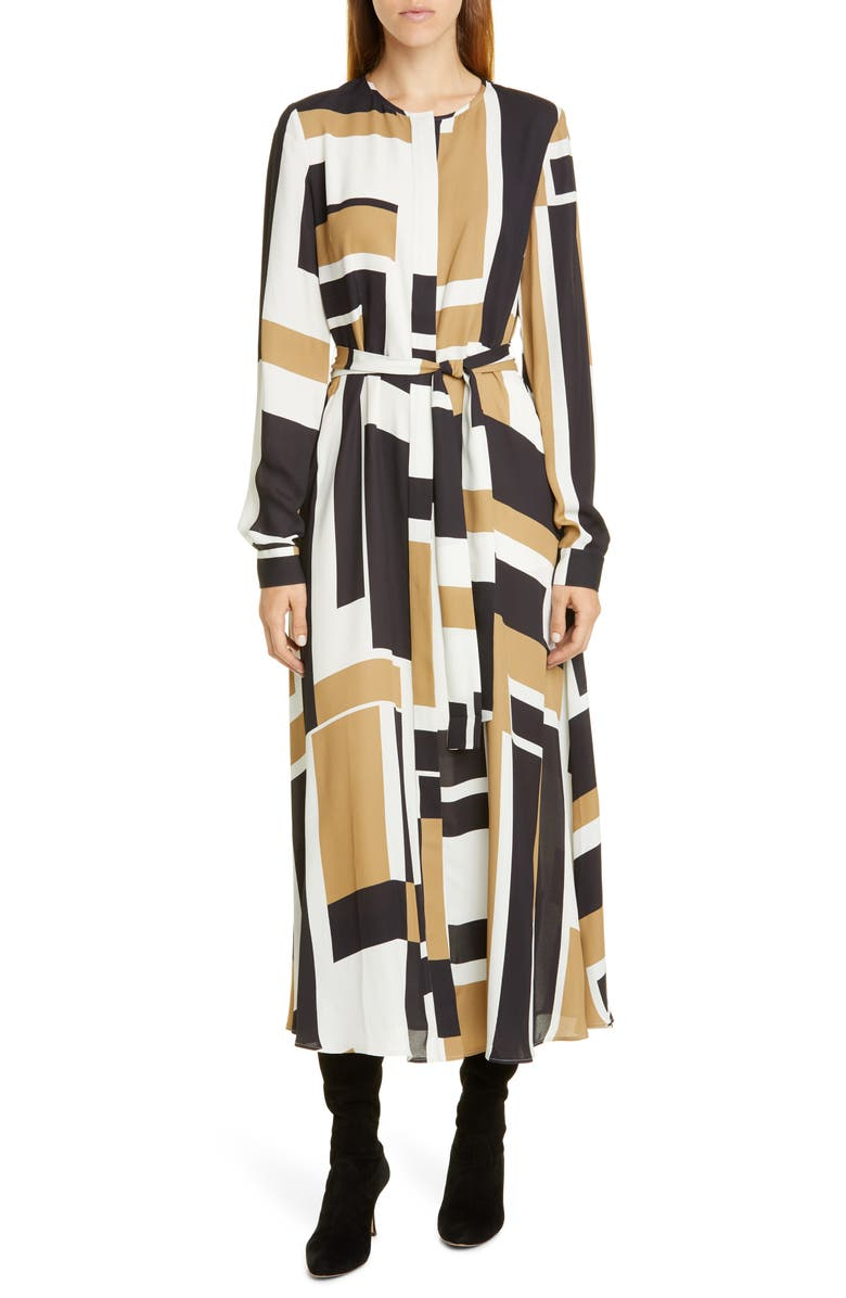 LAFAYETTE 148 NEW YORK Emberley Graphic Block Long Sleeve Midi Shirtdress, Main, color, CLOUD MULTI