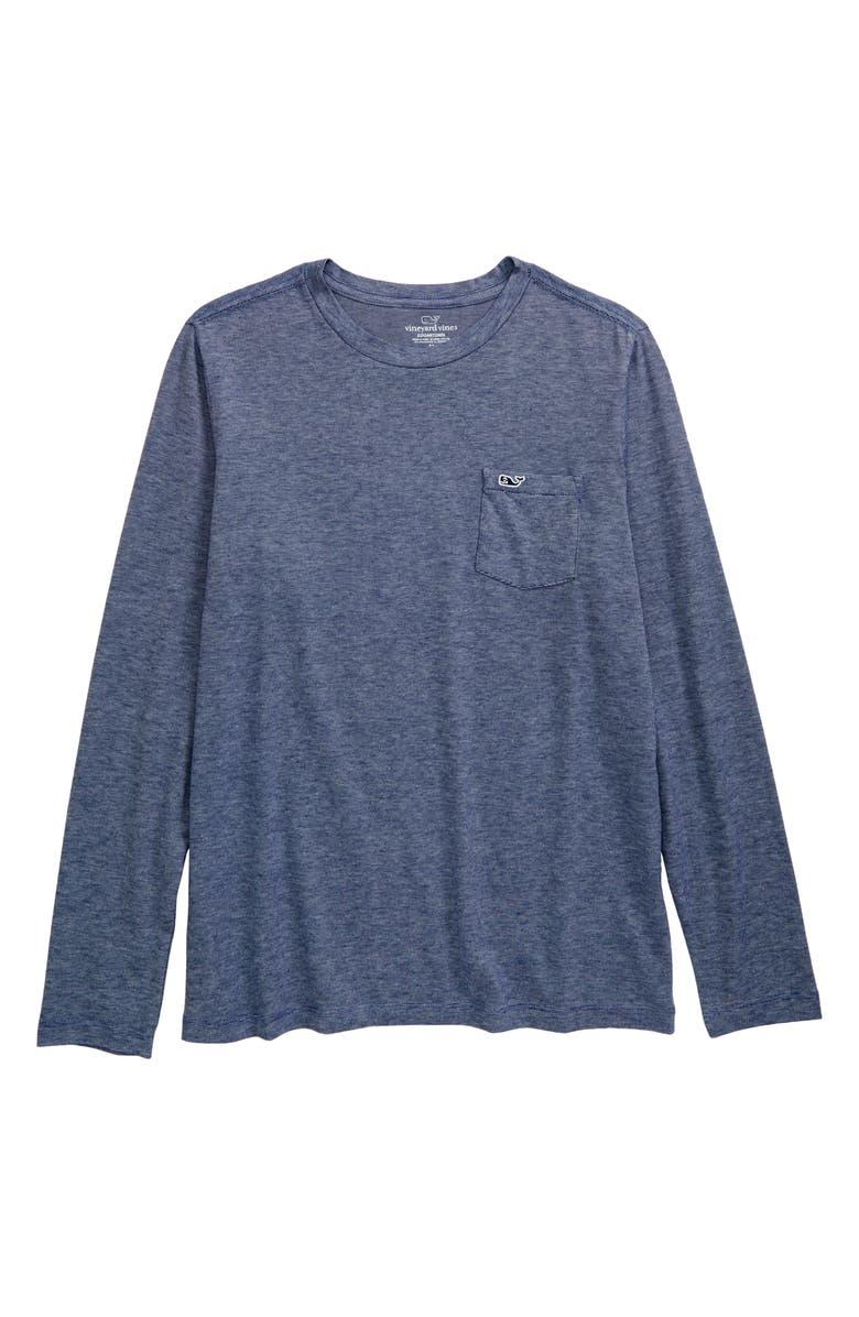 VINEYARD VINES Edgartown Stripe Long Sleeve Pocket Performance T-Shirt, Main, color, SHEP STRIPE DB
