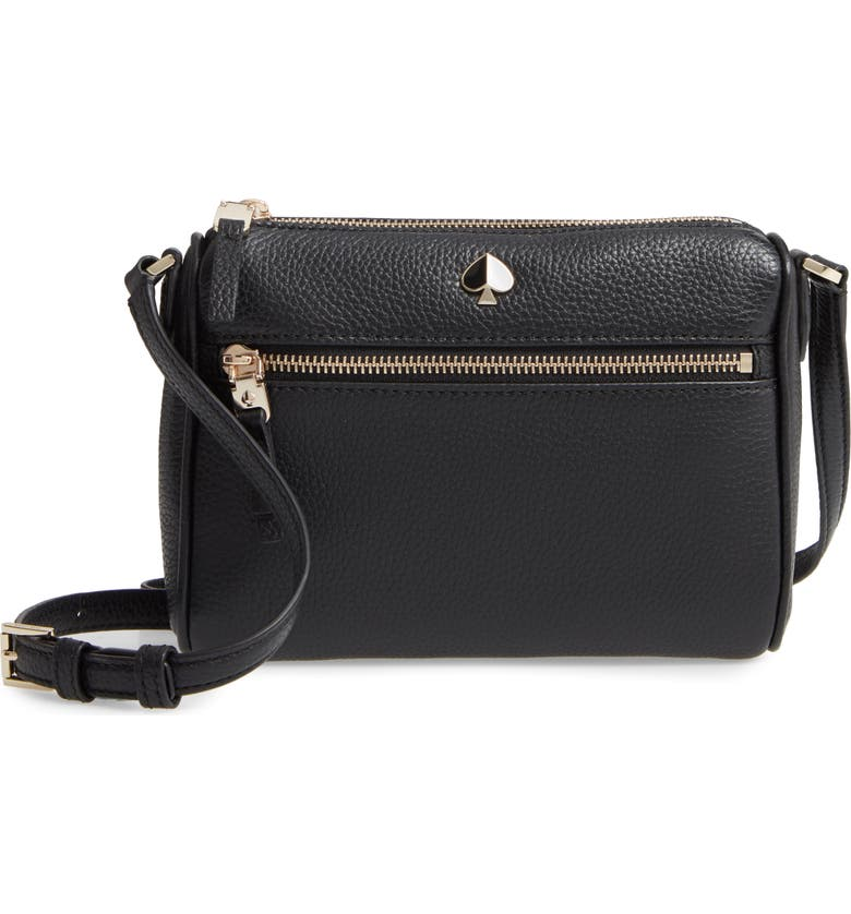 KATE SPADE NEW YORK small polly leather crossbody bag, Main, color, BLACK