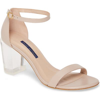 Stuart Weitzman The Nearlynude Clear Heel Ankle Strap Sandal, Grey