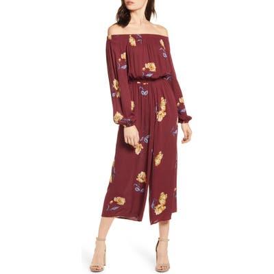 Love, Fire Floral Off The Shoulder Wide Leg Crop Jumpsuit, Purple