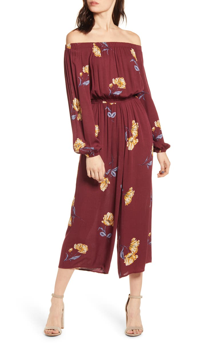 LOVE, FIRE Floral Off the Shoulder Wide Leg Crop Jumpsuit, Main, color, 500