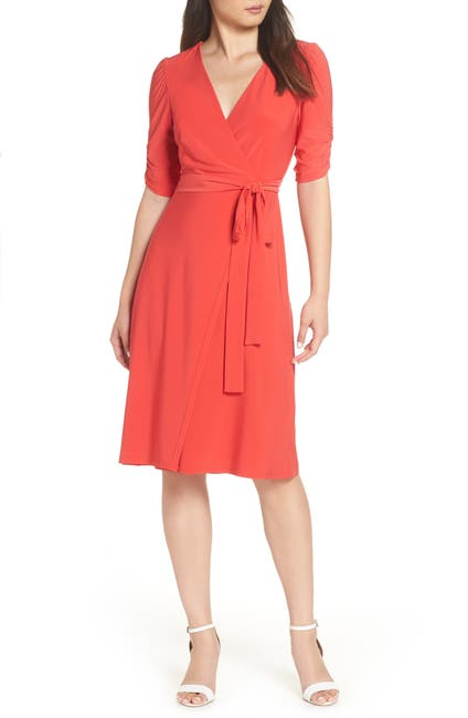 Image of Eliza J Ruched Sleeve Faux Wrap Dress