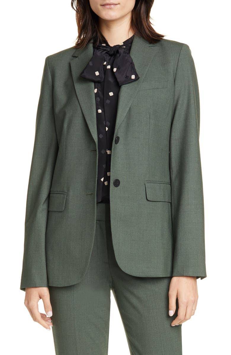 THEORY Classic Stretch Wool Jacket, Main, color, HUNTER GREEN MELANGE