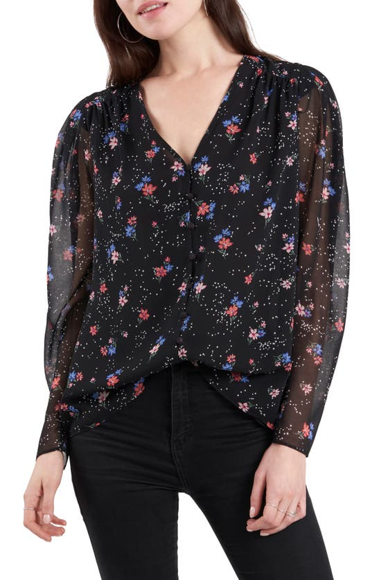 1.STATE Blouses SHEER SLEEVE BLOUSE