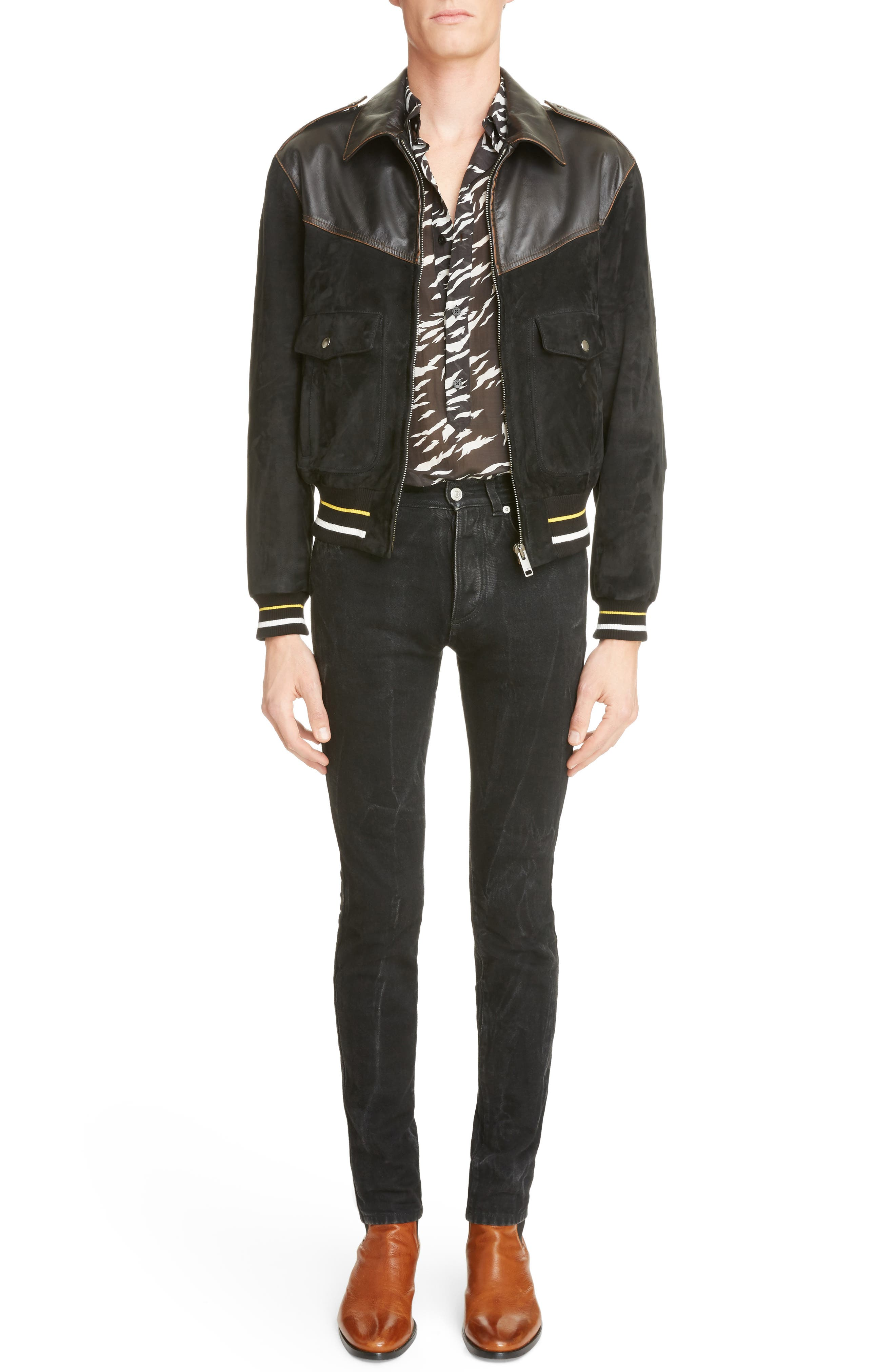 ,                             Suede & Leather Bomber Jacket,                             Alternate thumbnail 6, color,                             001