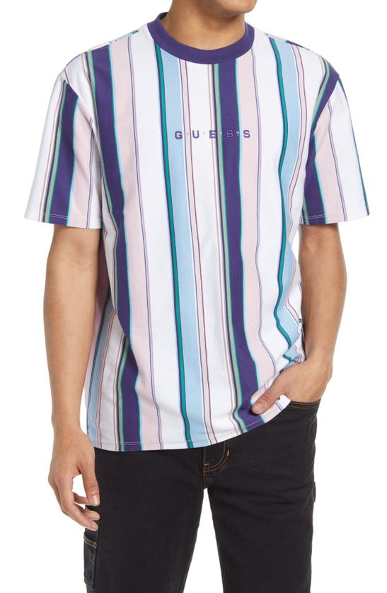 Guess T-shirts VERTICAL STRIPE EMBROIDERED LOGO T-SHIRT
