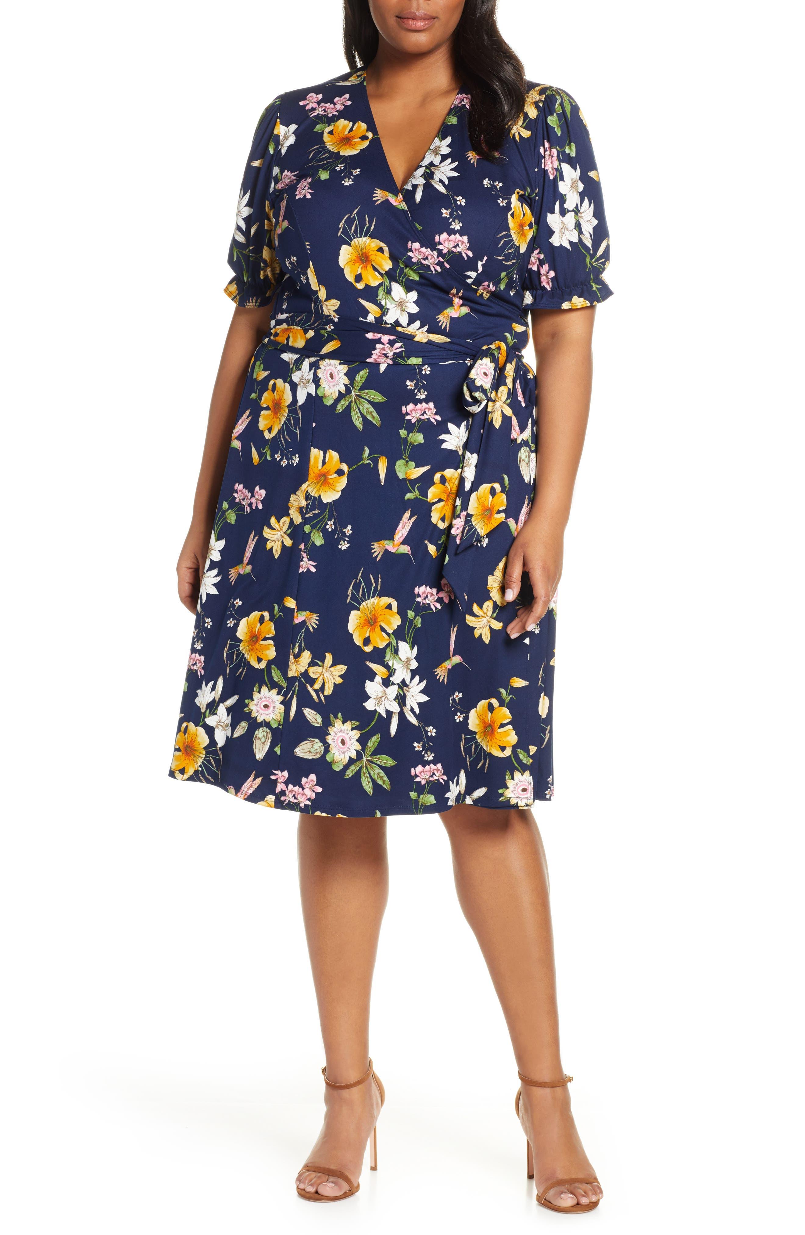 Plus Size Vintage Dresses, Plus Size Retro Dresses Plus Size Womens Kiyonna Tuscan Floral Wrap Dress $108.00 AT vintagedancer.com
