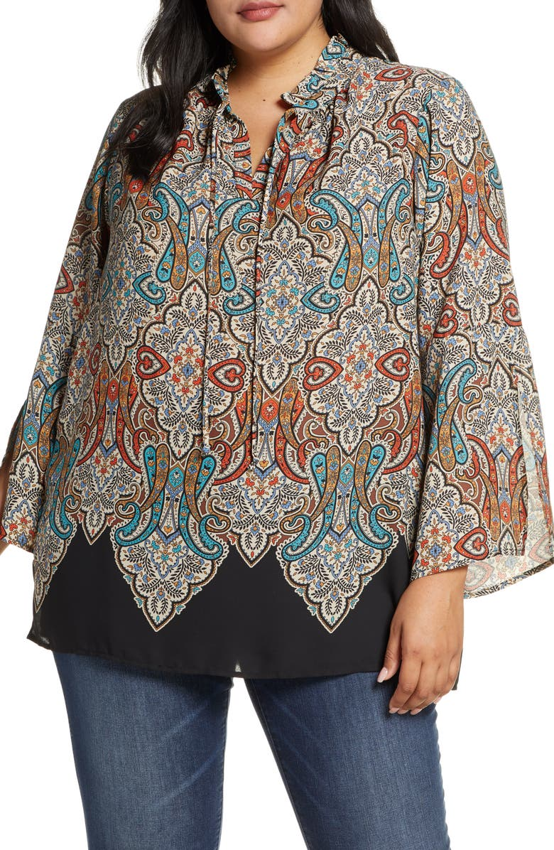 SINGLE THREAD Paisley Printed Tunic Top, Main, color, CEMENT PRINT