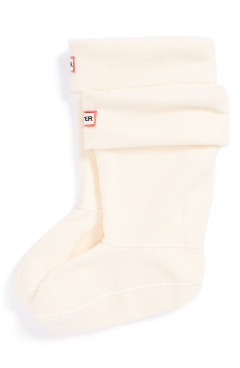 HUNTER Fleece Welly Boot Socks, Main, color, CREAM