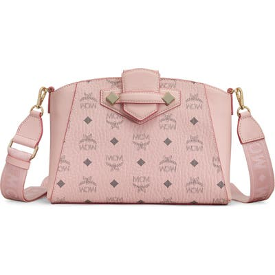 Mcm Small Essential Visetos Coated Canvas Crossbody Bag - Pink