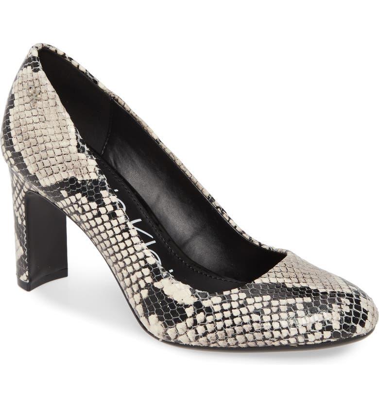 CALVIN KLEIN Octavia Block Heel, Main, color, SNAKE PRINT LEATHER