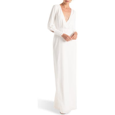 Joanna August Page Long Sleeve Column Wedding Dress, White