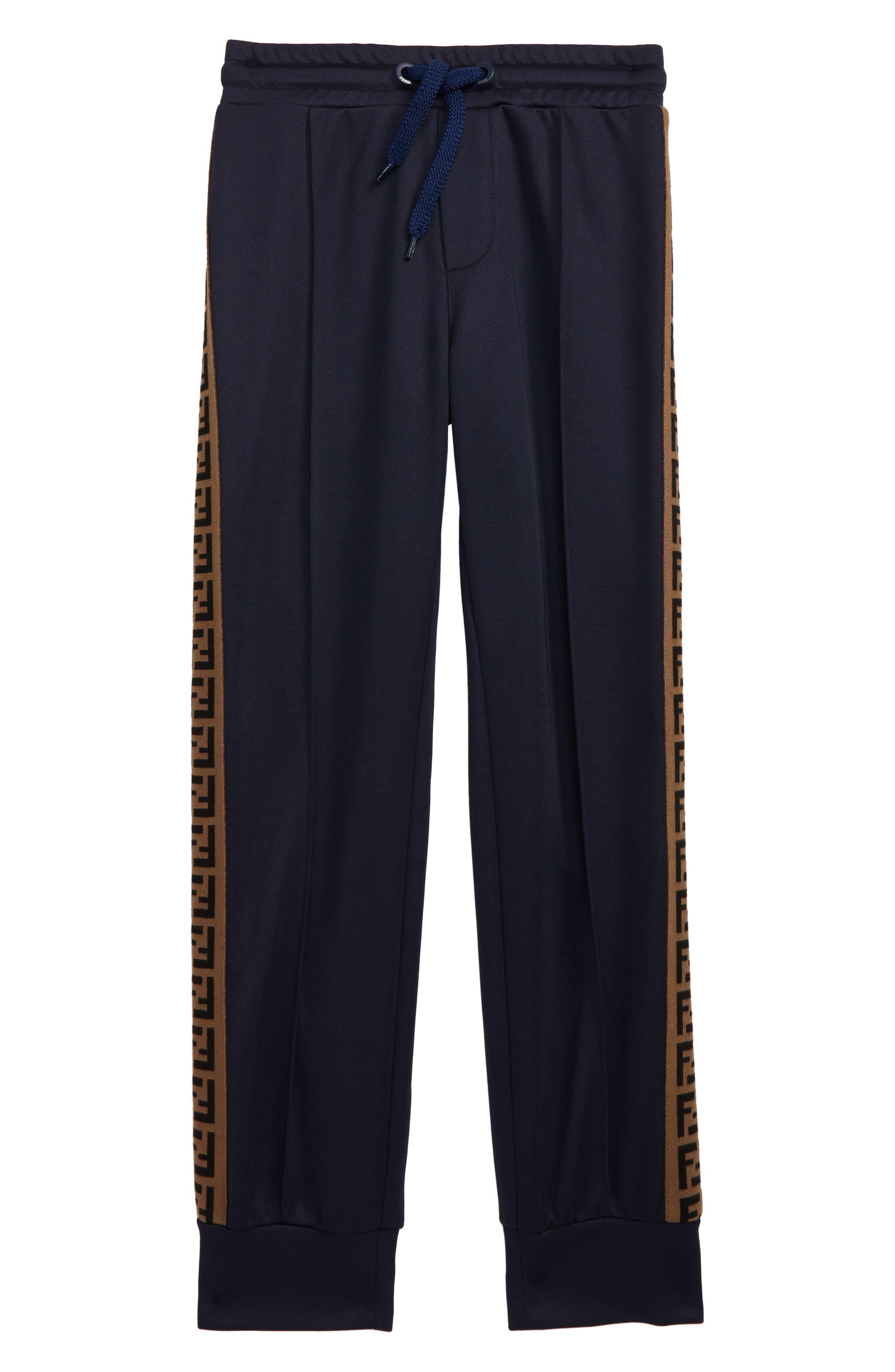 Boys Fendi Logo Stripe Track Pants Size 4Y  Blue
