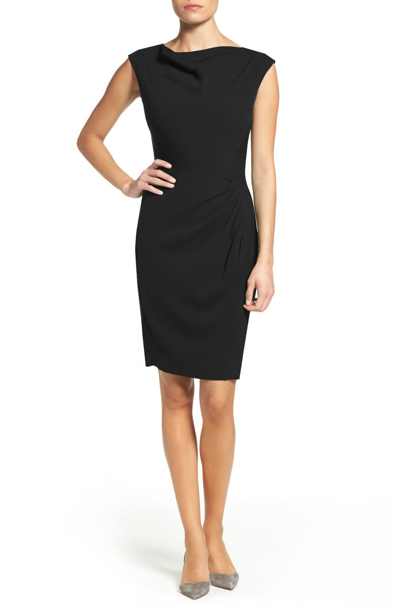 TAHARI Ruched Sheath Dress, Main, color, 001