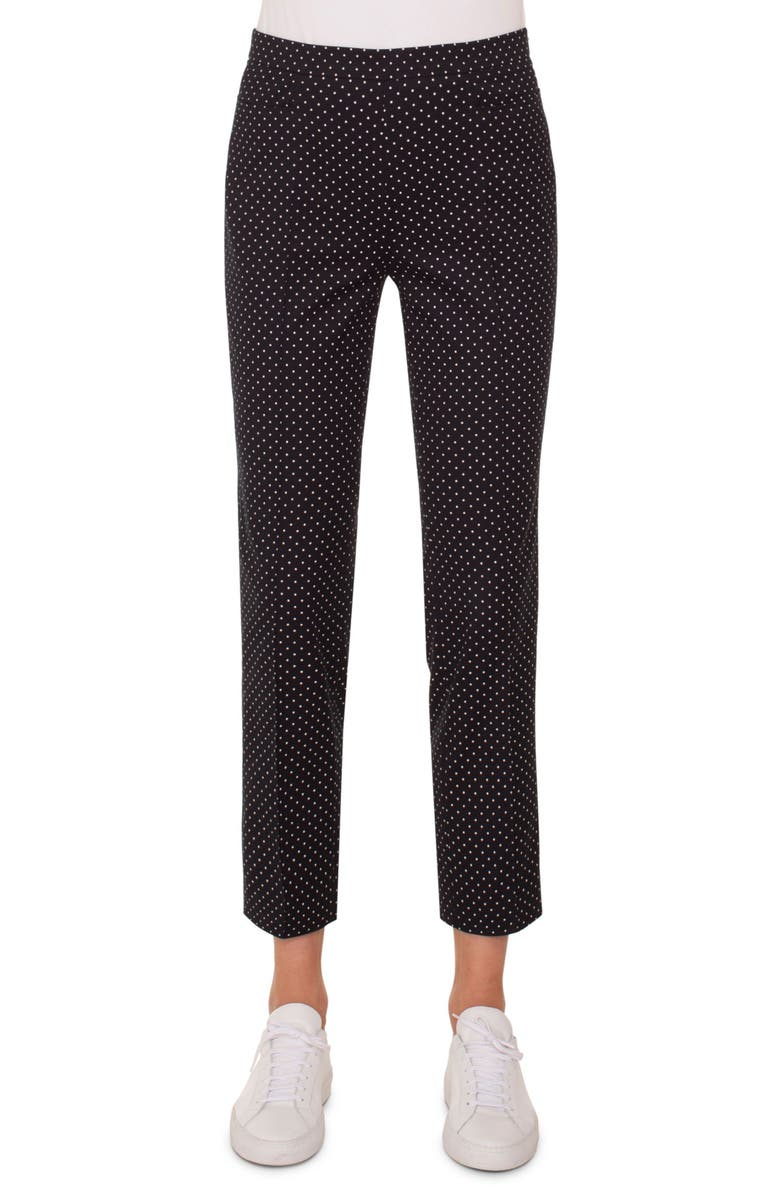 AKRIS PUNTO Franca Mini Dot Stretch Cotton Pants, Main, color, BLACK/ CREAM
