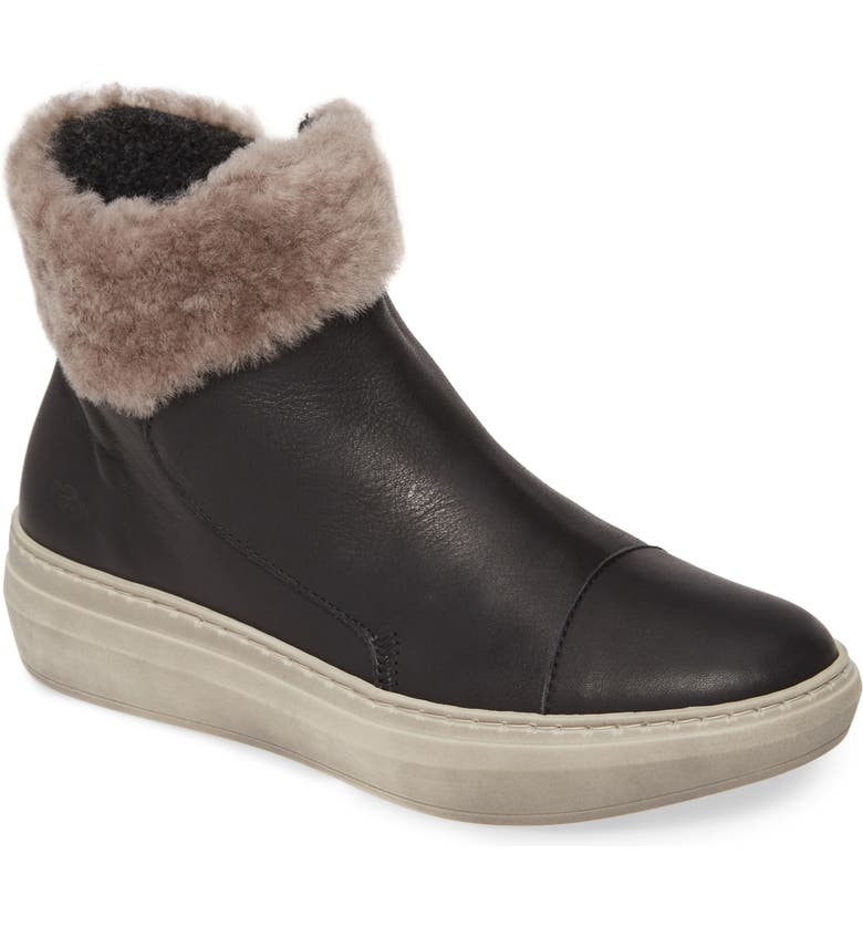 CLOUD Quies Wool Lined Bootie with Genuine Shearling Cuff, Main, color, BLACK LEATHER