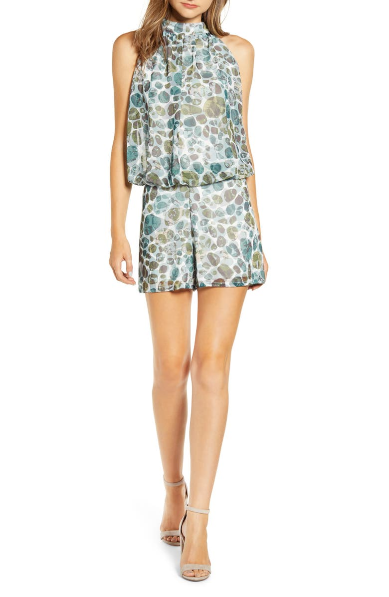 SENTIMENTAL NY Bow Back Blouson Romper, Main, color, MINERAL ROCK