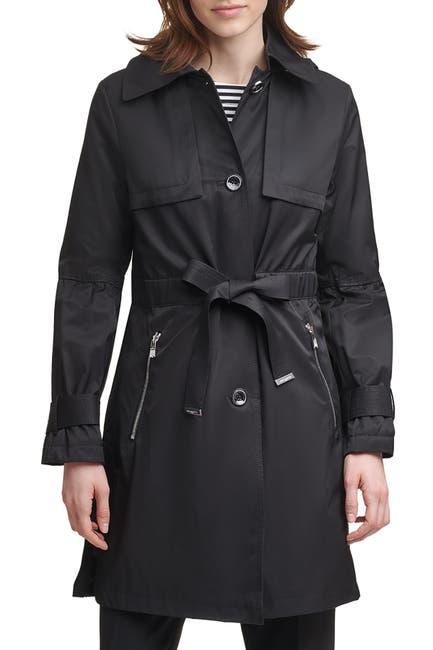 Image of Karl Lagerfeld Paris Anorak Tie Front Trench Coat