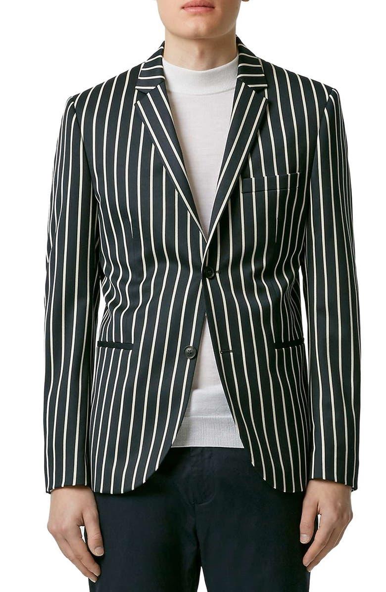 TOPMAN Skinny Fit Stripe Blazer, Main, color, 410