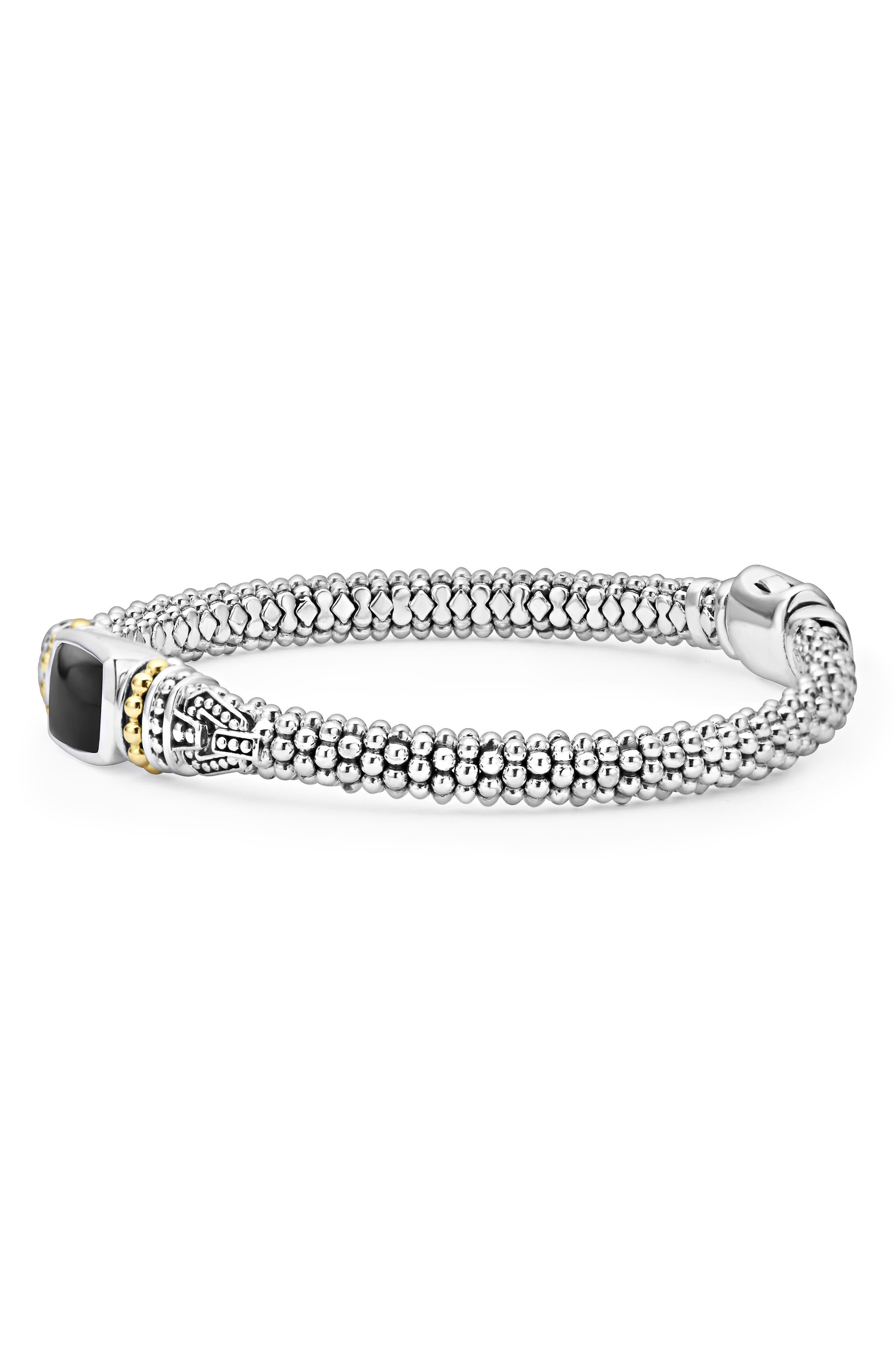 ,                             'Caviar Color' Semiprecious Stone Bracelet,                             Alternate thumbnail 4, color,                             BLACK ONYX