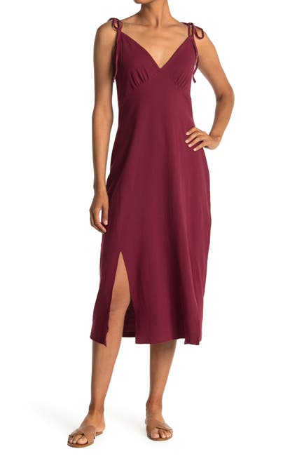 Image of STITCHDROP Tie Shoulder Ribbed Maxi Dress