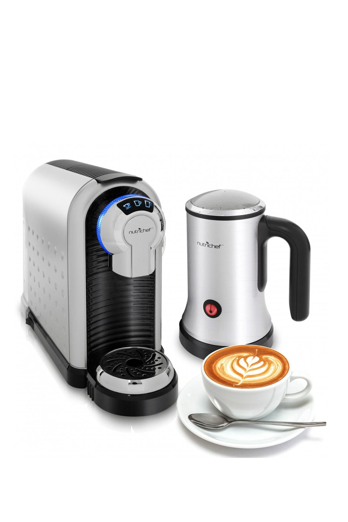 Image of NutriChef Automatic Capsule Espresso Maker with Hot & Cold Milk Frother